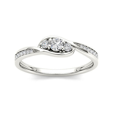 1/5 CT. T.W. Diamond 10K White Gold 3-Stone Engagement Ring, 6 1/2 , No Color Family