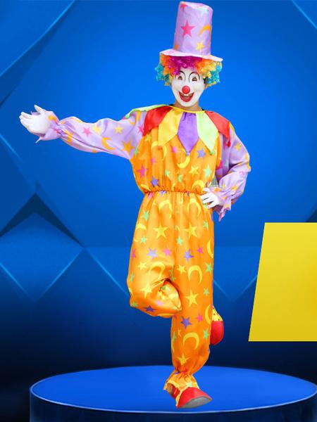 Milanoo Carnival Circus Costume Orange Unisex HatJumpsuit Set Holidays Clown Costumes