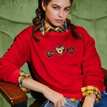 Heart & Floral Embroidery Sweatshirt