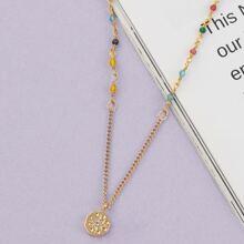Starburst Pendant Multi Colored Beaded Necklace