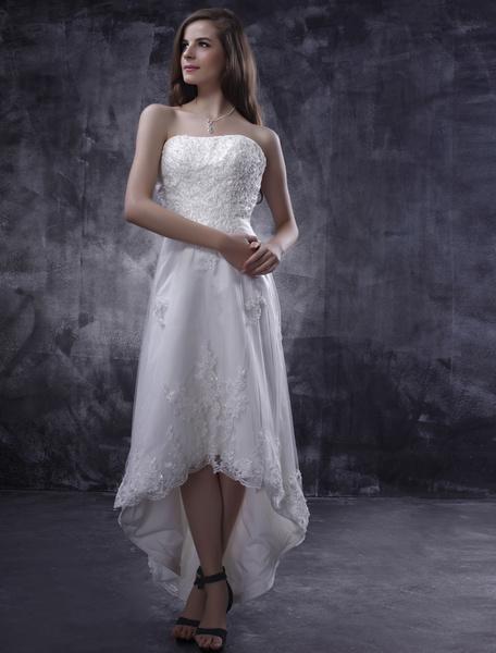 Milanoo Vestido de novia  barato 2020 con escote palabra de honor y aplicacion de cola asimetrica