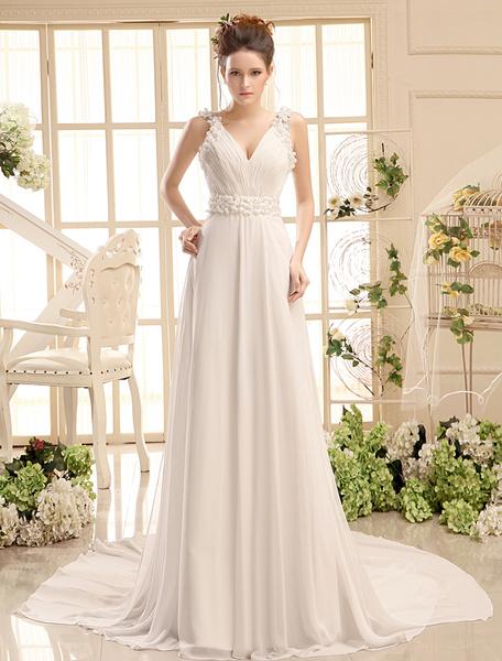 Milanoo Vestido de novia de chifon con cuello en V y cuentas de cola larga