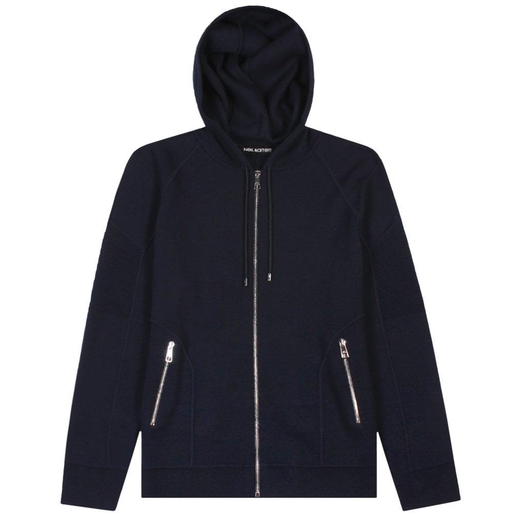 Neil Barrett Neil Barret Zipped Hoodie Navy Colour: NAVY, Size: EXTRA EXTRA LARGE