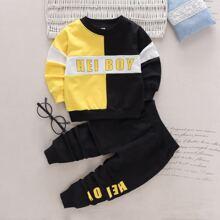 Pullover und Jogginghose mit Buchstaben Grafik und Farbblock