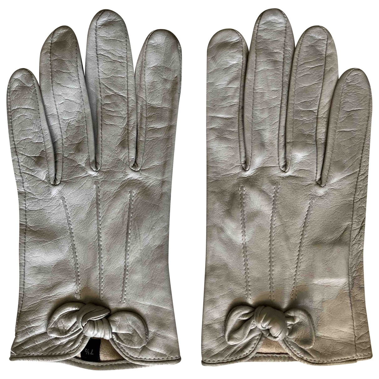 Non Signé / Unsigned \N Grey Leather Gloves for Women M International