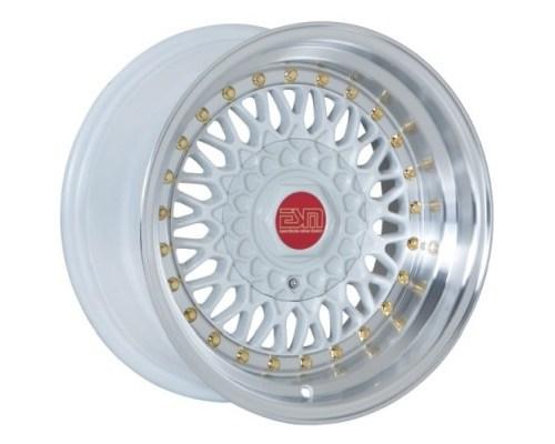 ESM Wheels ESM-002RWH16X9 White/Machined Polished Lip Gold Rivet ESM-002R Cast Wheel 16x9 4/5x100 +15mm
