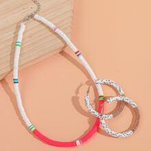 1pc Colorblock Necklace & 1pair Hoop Earrings