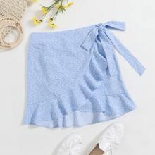 Ruffle Hem Wrap Knot All-over Print Skirt