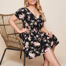Plus Surplice Neck Allover Floral A-line Dress