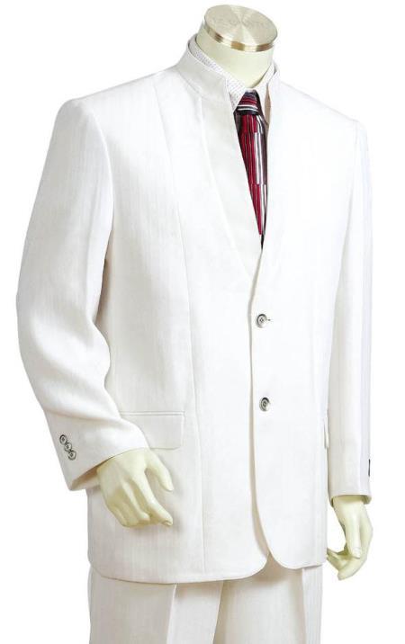 Mens Button Fastener Mandarin Collar Cross Stripe White Zoot Suit
