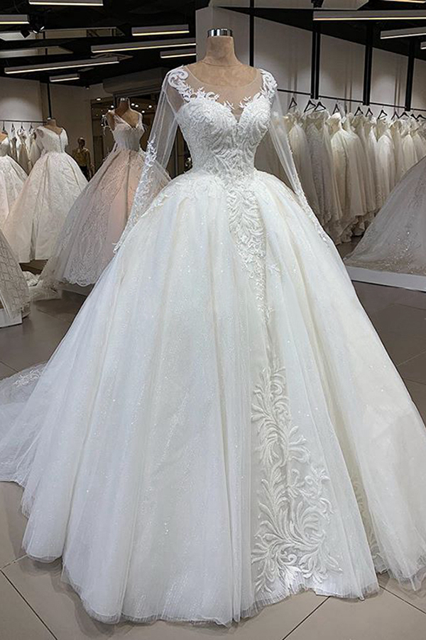 BMbridal Gorgeous Jewel Longsleeves Lace Wedding Dresses A-line Tulle Ruffles Bridal Gowns With Appliques Online