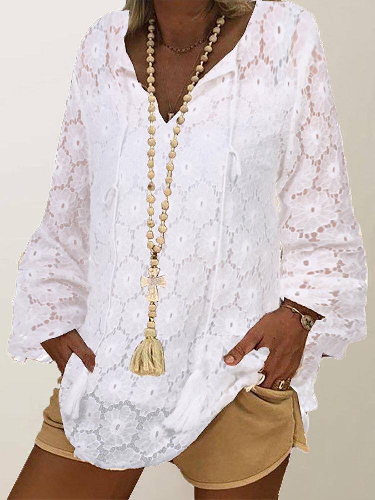 Lace Hoolow V-neck Long Sleeve Plus Size Blosue