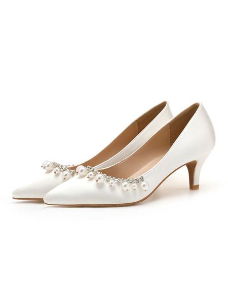 Milanoo Woman\'s Mid-Low Heels Elegant Pointed Toe Kitten Heel Slip-On Pretty Pearls White Pumps & Heels
