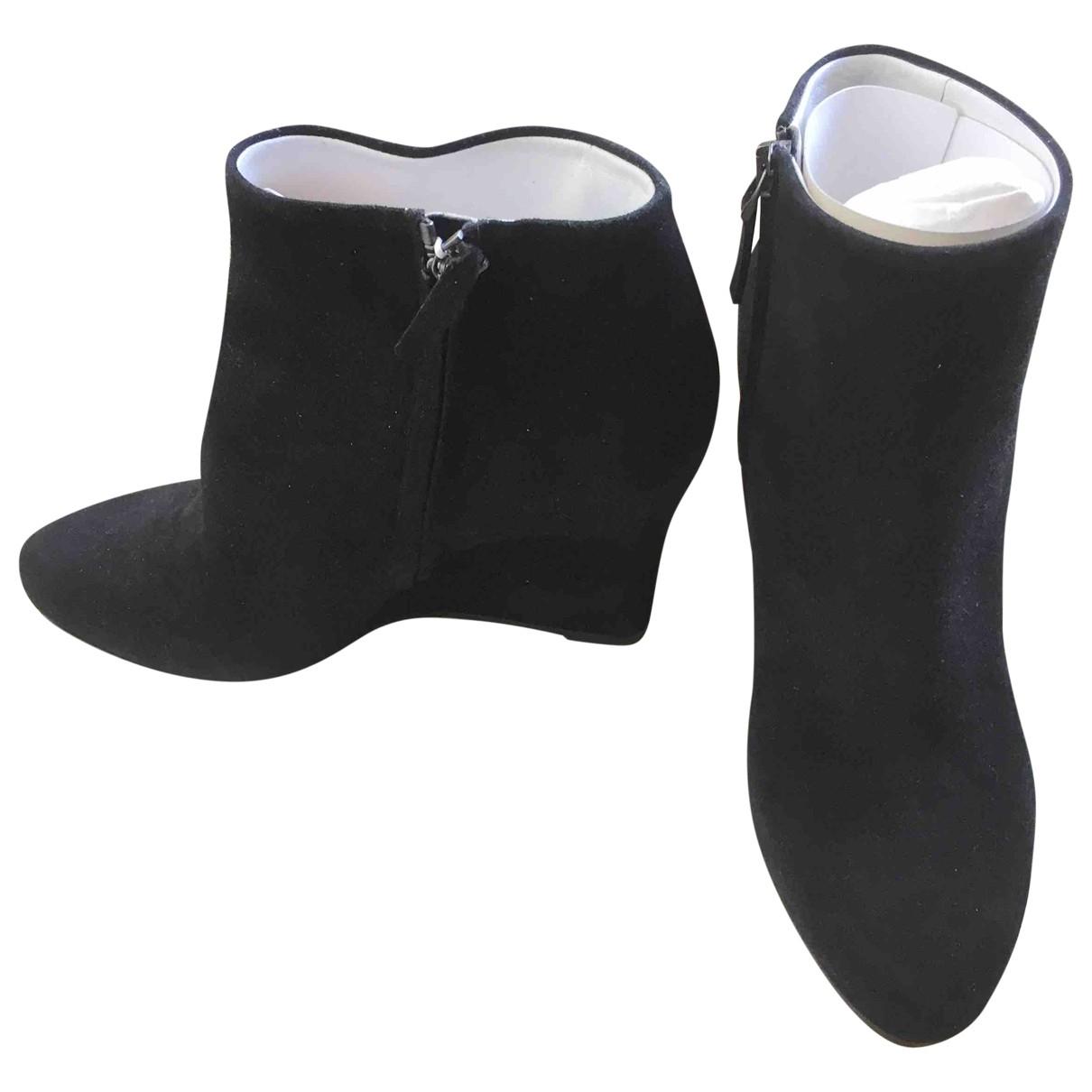 Jil Sander - Boots   pour femme en suede - noir
