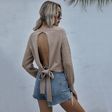 Cable Knit Cut Out Tie Back Sweater