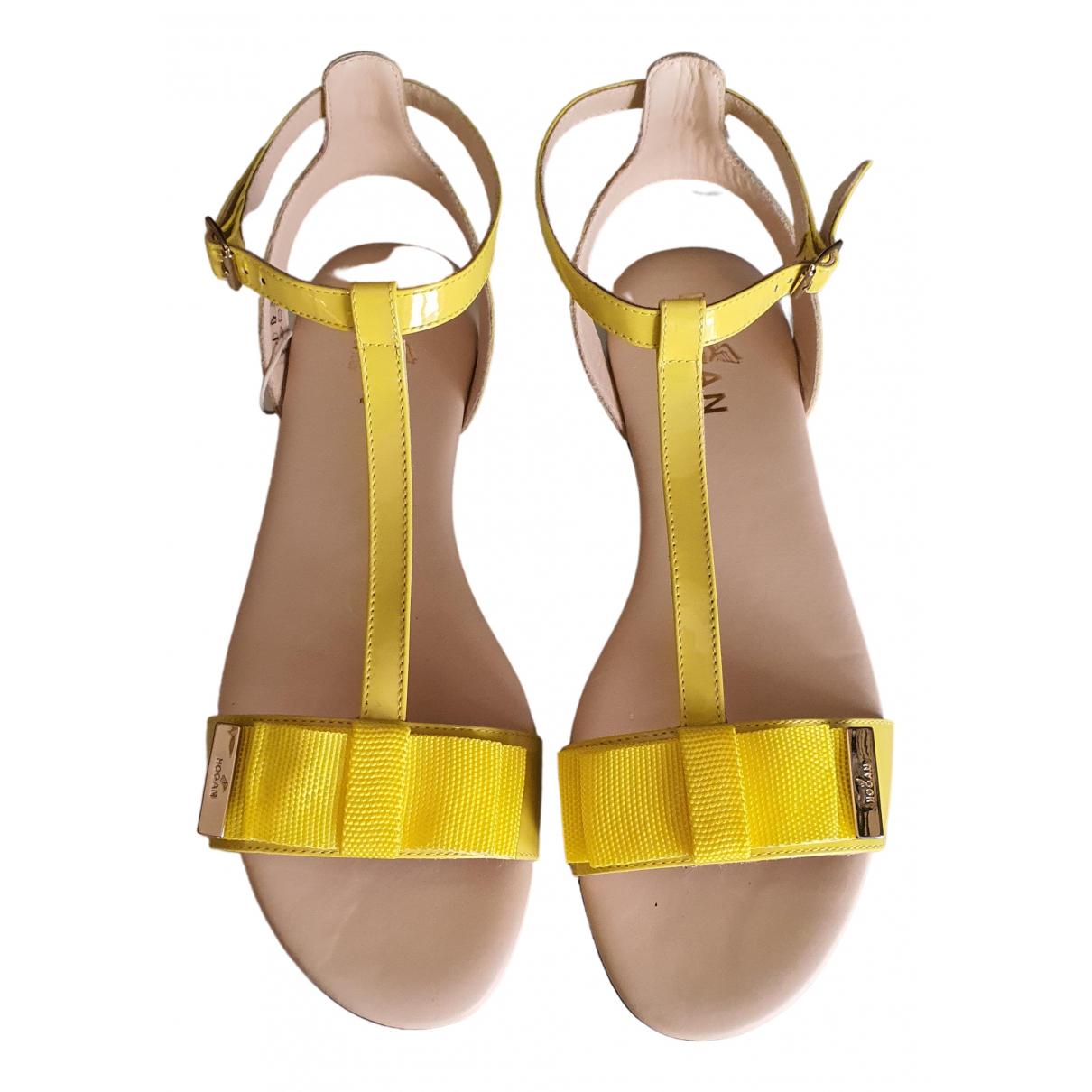 Hogan - Sandales   pour femme en cuir verni - jaune