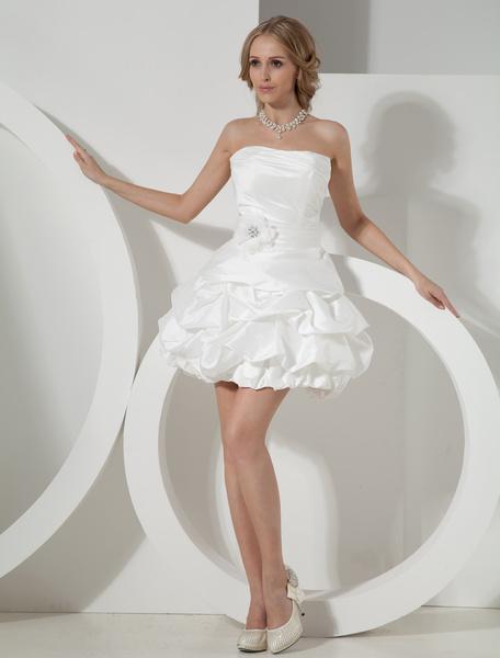 Milanoo Ivory Strapless Mini Wedding Dress