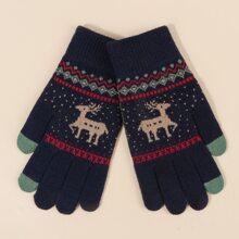 Guantes tejidos con bordado de ciervo de Navidad para hombres