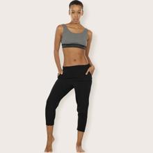 Einfarbige Sports Caprihose mit elastischer Taille