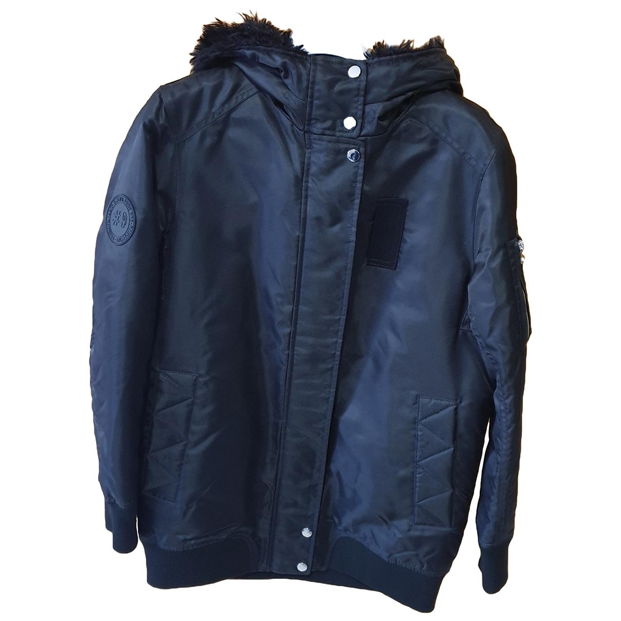 Zara \N Lederjacke in  Schwarz Polyester