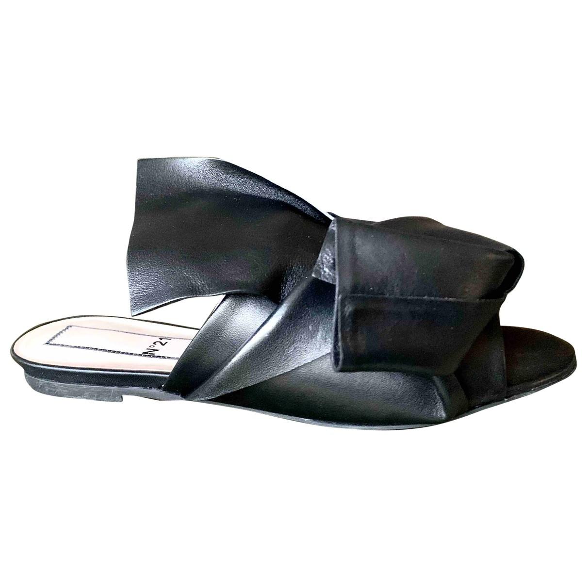 N°21 \N Black Leather Sandals for Women 38 EU