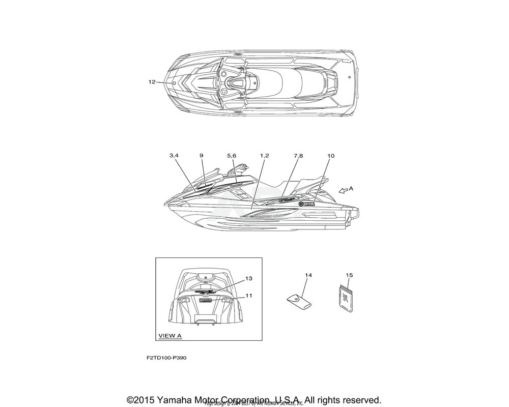 Yamaha OEM F2T-U417C-80-00 GRAPHIC 2 (RH) | FOR WHITE