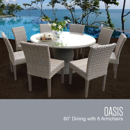 Monterey Collection MONTEREY-60-KIT-8 Patio Dining Set with 1 Table   8 Side Chairs - No