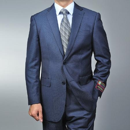 2 Button Blue Teakweave Suit Mens Cheap
