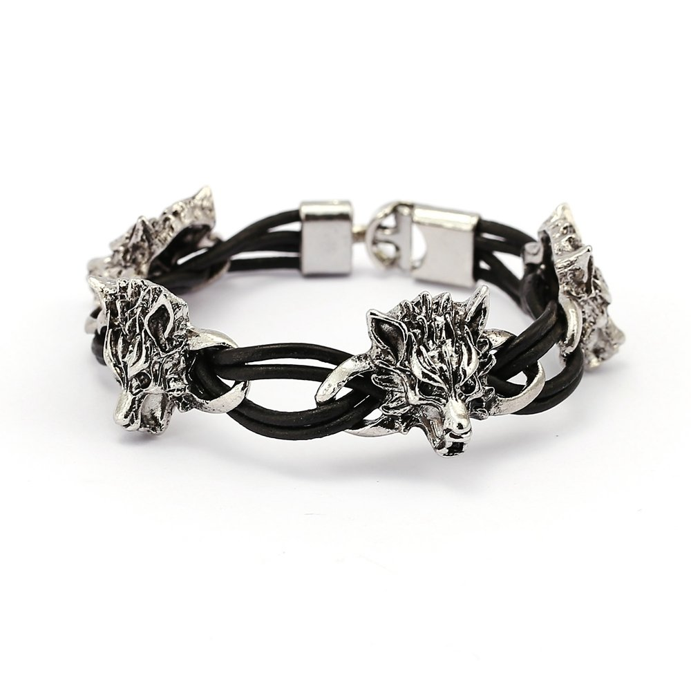 Punk Cuff Bracelets Wolf Head Wax Rope Winding Elasticity Bangle Bracelet Ethnic Jewelry for Men