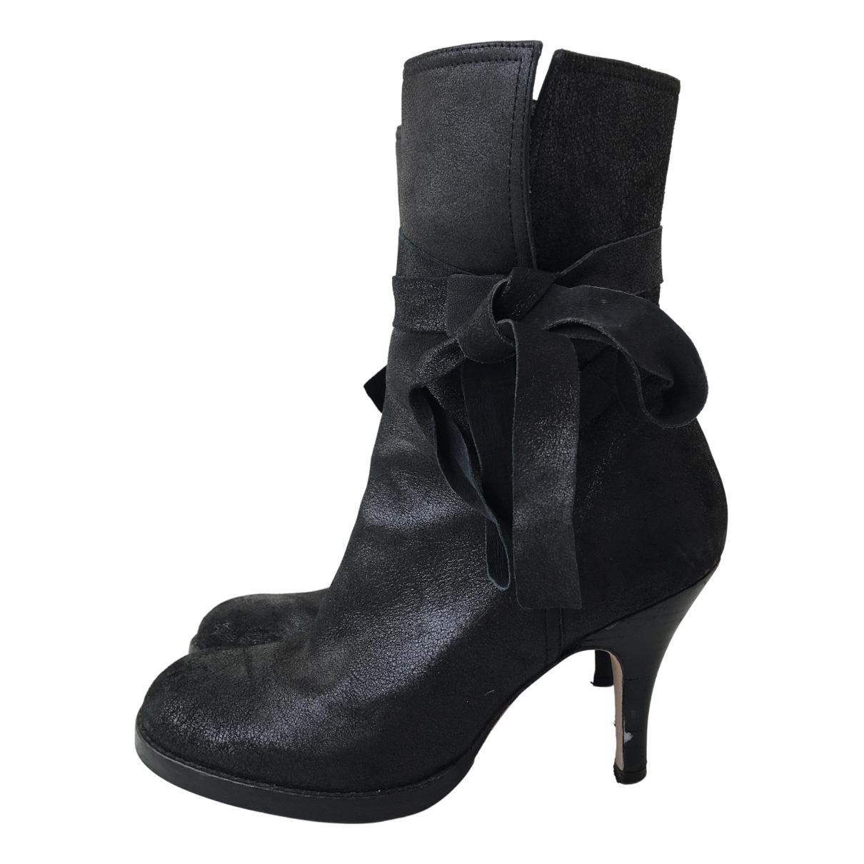 Nicole Farhi - Bottes   pour femme en cuir - noir