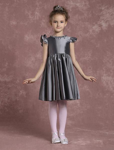 Milanoo Grey Flower Girl Dresses Knee Length Taffeta Pageant Dresses Toddler's Zipper Pleated A Line Formal Dresses