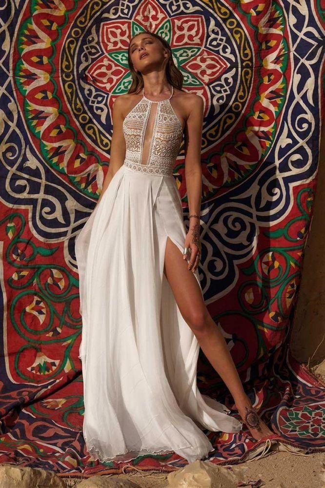 Halter White High split Chiffon Boho Summer Simple Wedding Dress