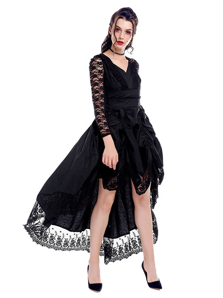 Milanoo Victorian Dress Costume Retro Gothic Medieva Renaissance Lace V Neck Royal Women's Black Gown dress Halloween