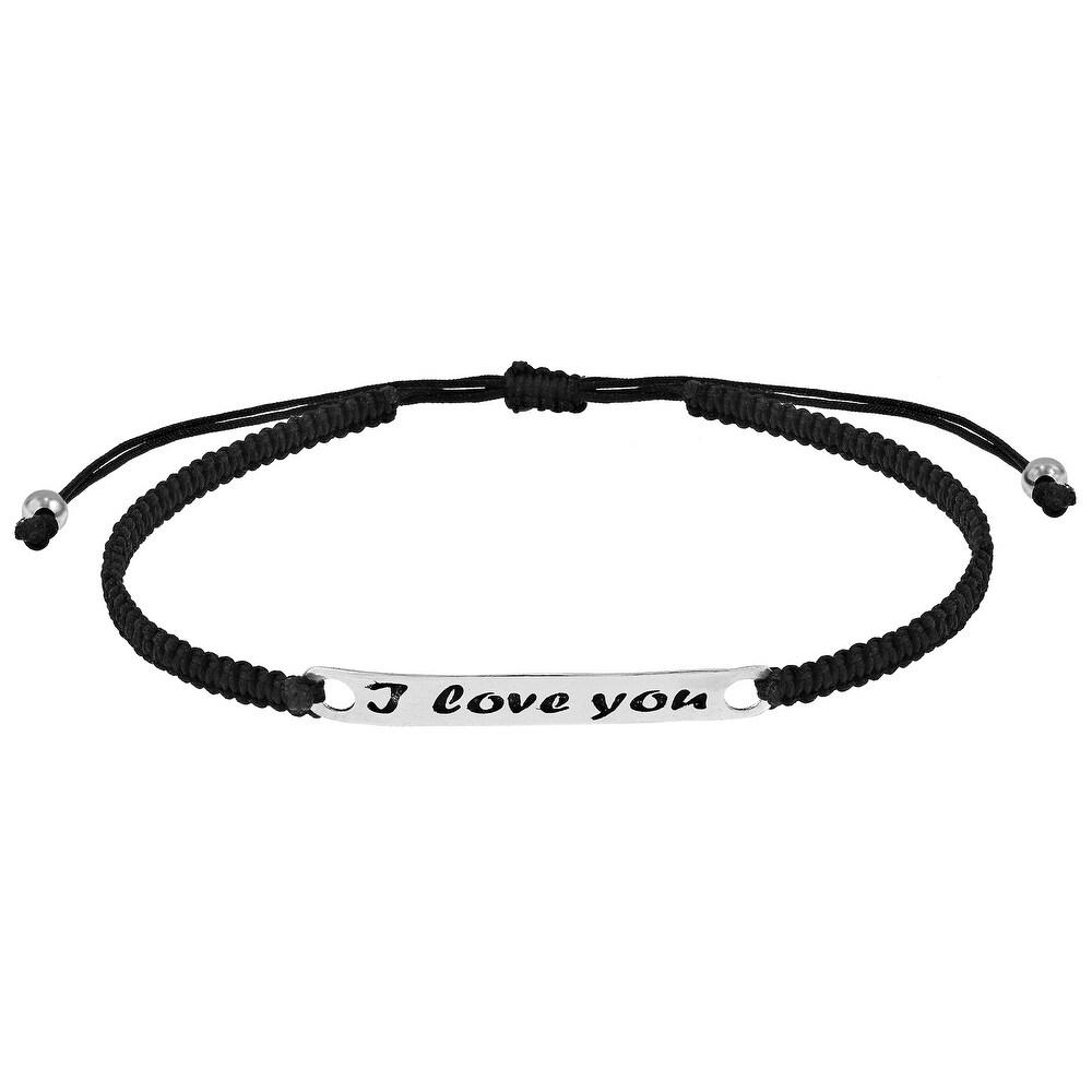Handmade Sweet 'I Love You' Bar Sterling Silver Charm on Black Rope Adjustable Bracelet (Thailand) (White)