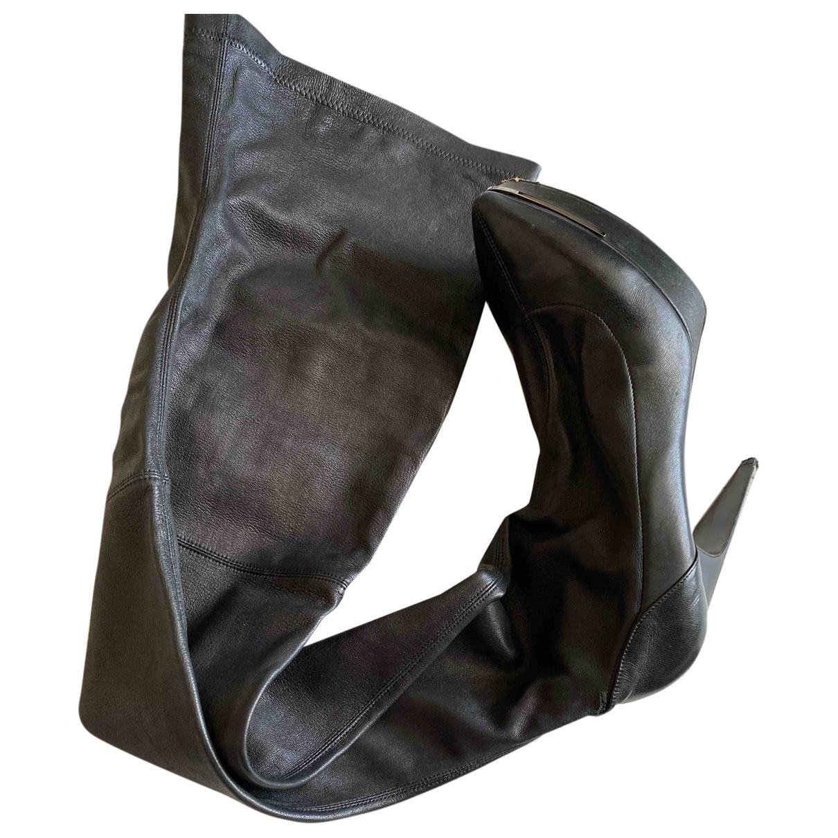 Lanvin - Bottes   pour femme en cuir - noir