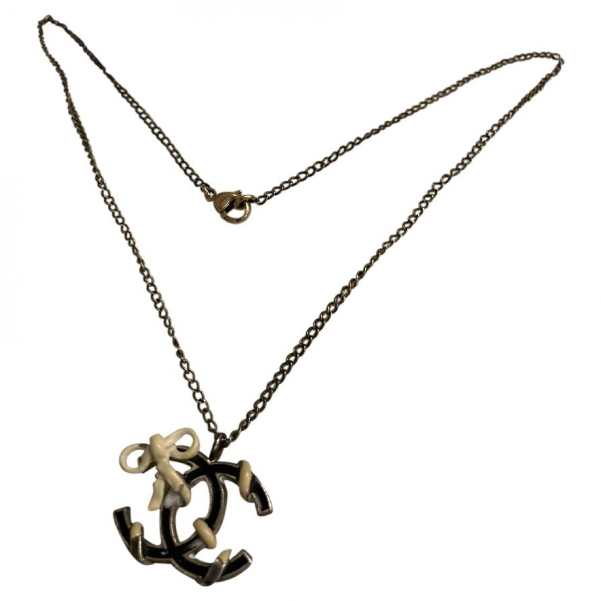 Chanel - Collier CC pour femme en metal - noir