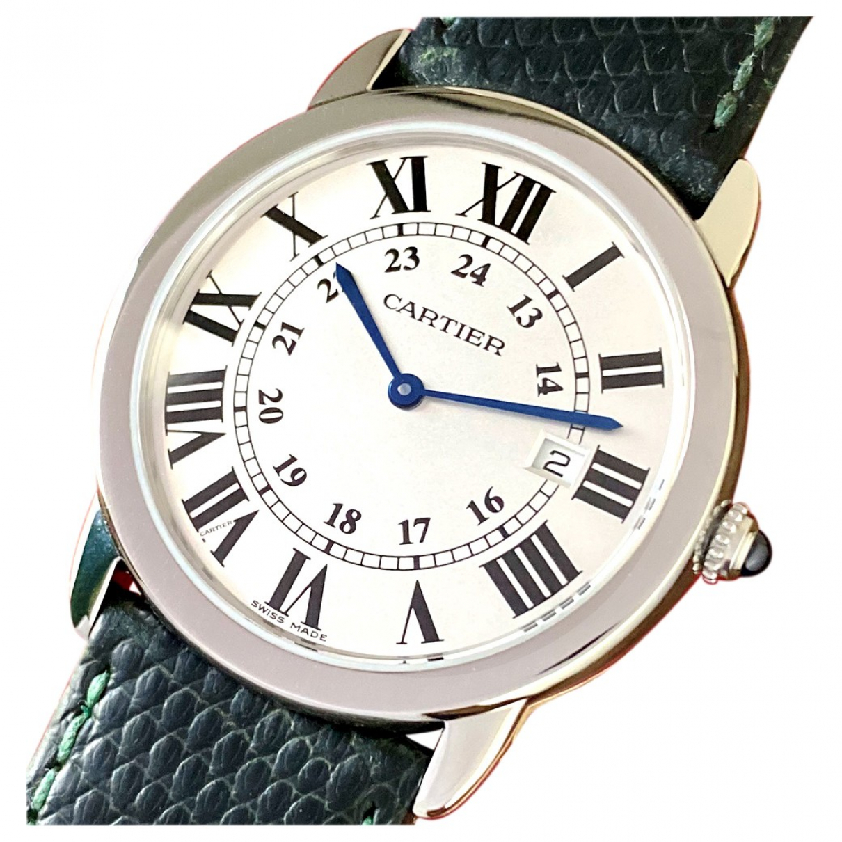 Cartier Ronde Solo Uhr in  Silber Stahl