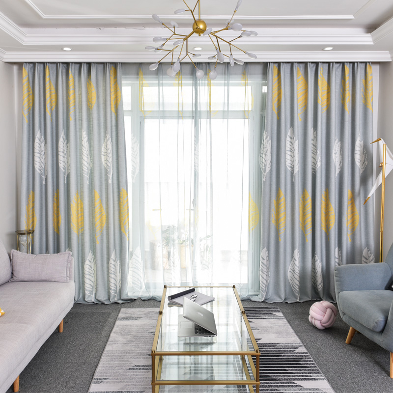 Cotton and Linen Modern Simple Printed Curtains