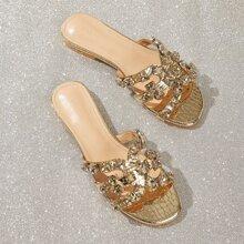 Sandalen mit Strass Dekor und Krokodil Praegung