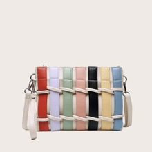 Colorful Woven Crossbody Bag With Wristlet