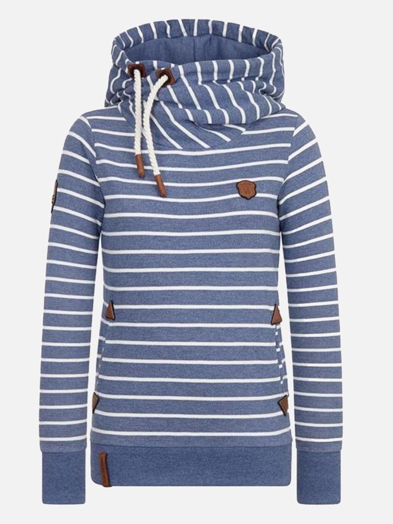 Ericdress Stripe Patchwork Pullover Slim Cool Hoodie
