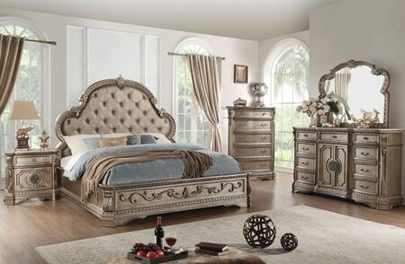 Northville Collection 26927EKWSET 5 PC Bedroom Set with King Size Bed  Wooden Top Dresser  Mirror  Chest and Wooden Top Nightstand in Antique
