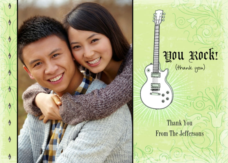 Thank You Cards Flat Glossy Photo Paper Cards with Envelopes, 5x7, Card & Stationery -You Rock! (thank you)