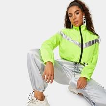 Neon Lime Drawstring Hem Contrast Panel Jacket