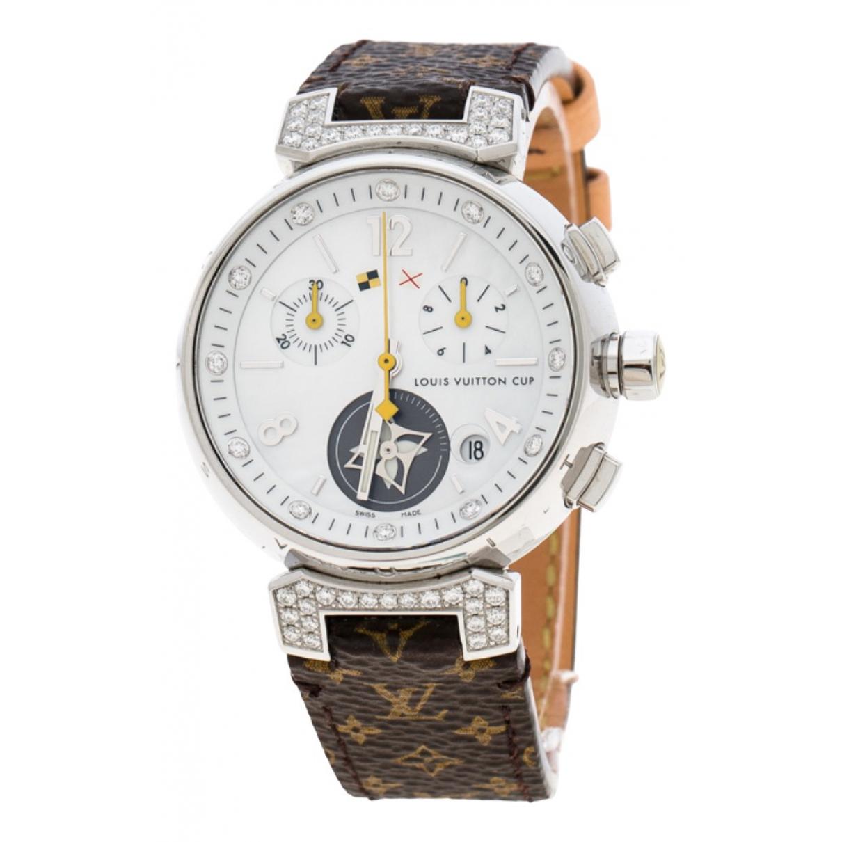 Louis Vuitton - Montre Tambour pour femme en acier - blanc
