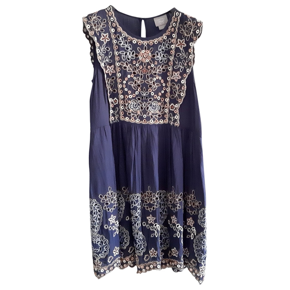 Non Signé / Unsigned Hippie Chic Blue Cotton dress for Women S International