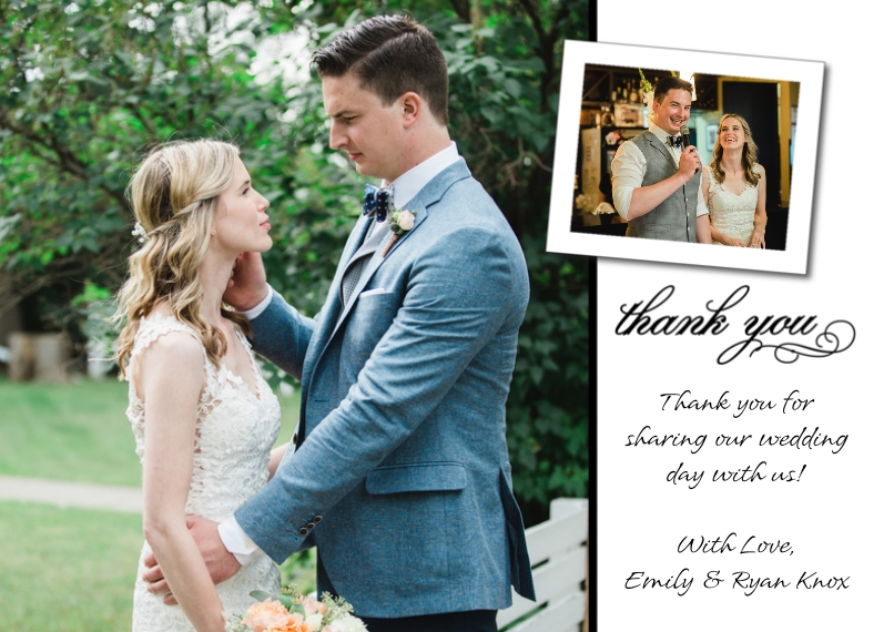 Thank You Cards 5x7 Cards, Premium Cardstock 120lb, Card & Stationery -Thank You Tilted Photo Top