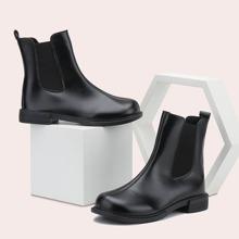 Minimalist Block Heeled Chelsea Boots