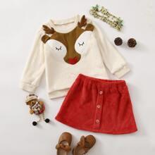 Outfits dos piezas para niña pequeña Parches Dibujos animados Dulce