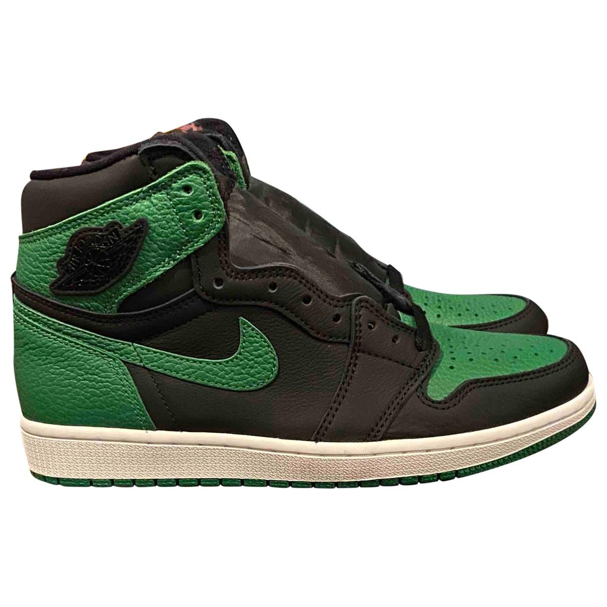 Jordan - Baskets Air Jordan 1  pour homme en cuir - vert